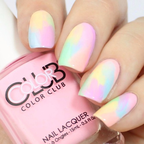 colorful pastel prom nail design