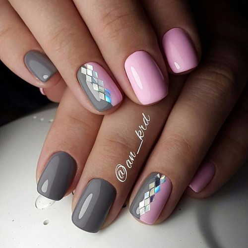 Grey And Pink Nails For Prom