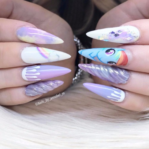 unicorn horn nail design for graduation