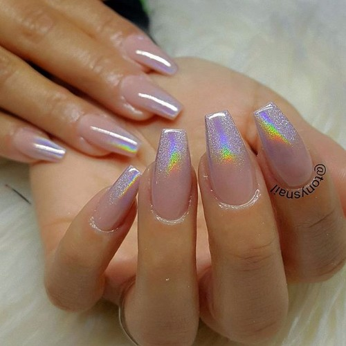 holographic prom nails