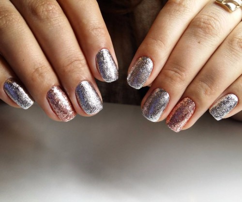 glass manicure with foil
