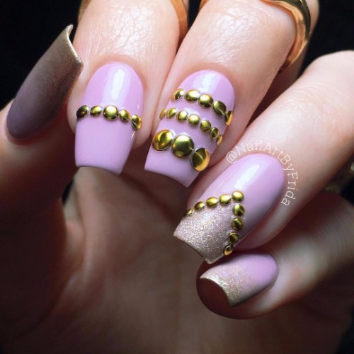 @nogtelle nails with rivets for special day - 50 Prom Nails Ideas For Graduation-2018 NAILSPIRATION