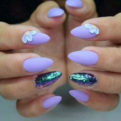 фиолетовый маникюр для длинных ногтей