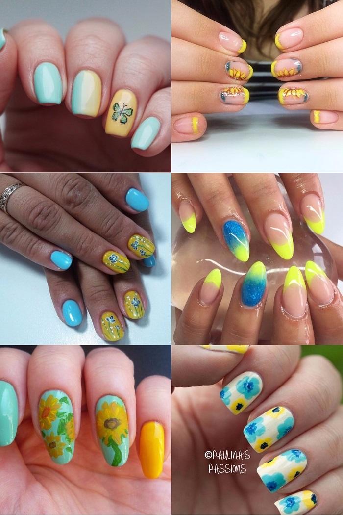маникюр в украинском стиле с цветами