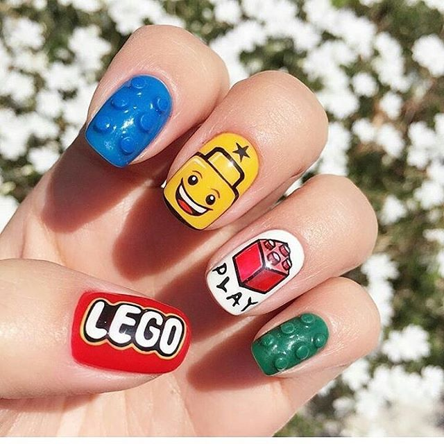 strange lego bricks nail design