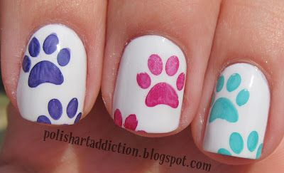nail design with colorful cat paws