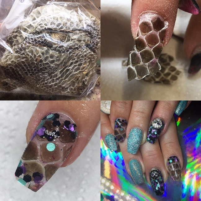 nail design with snake skin