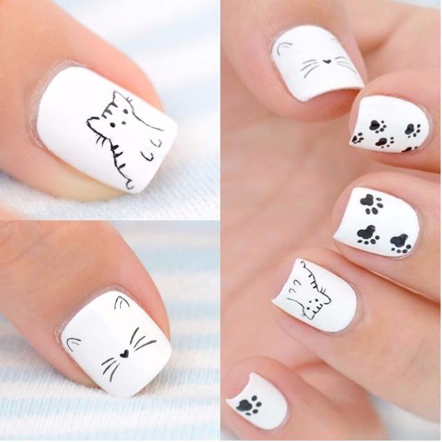 белый маникюр на коорткие ногти с кошками