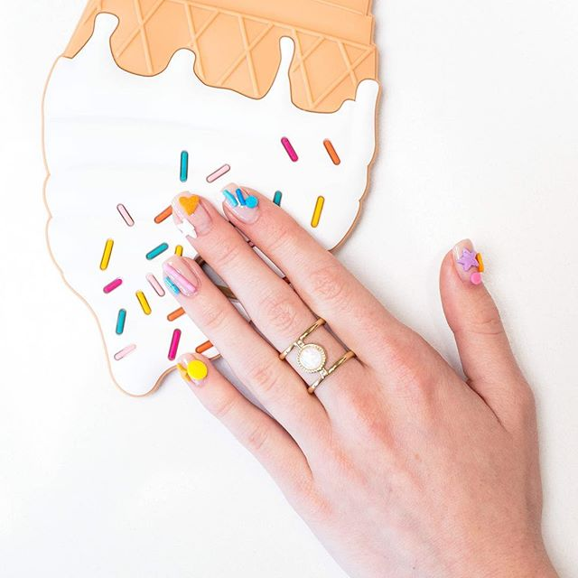 weird nail art with sweets