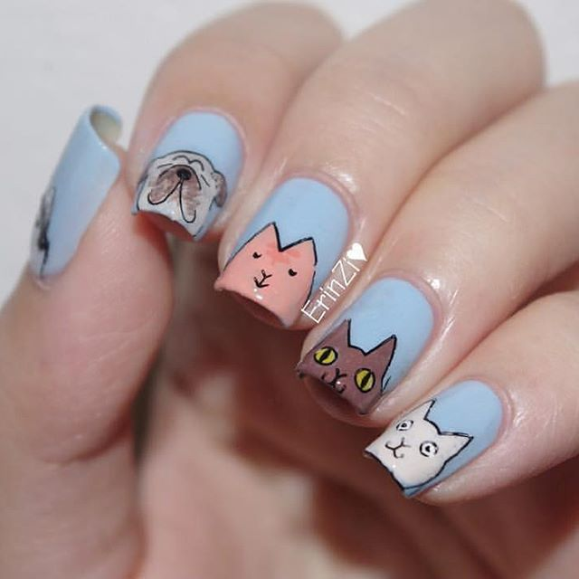 like cats and dogs nail design