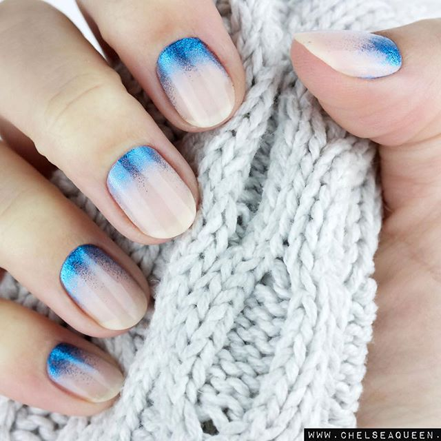 pink and blue nail design for fall