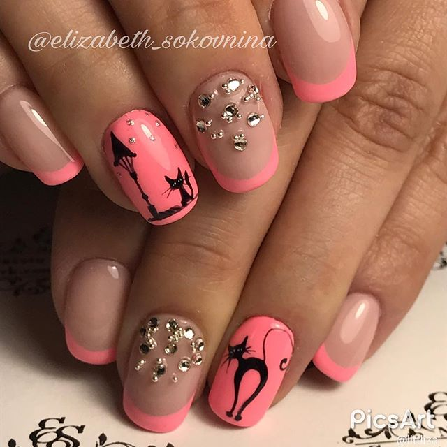 pink kitty-cat manicure