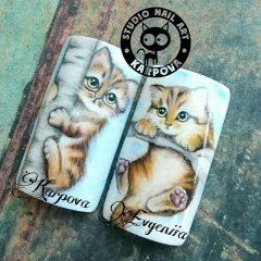 роспись на ногтях коты