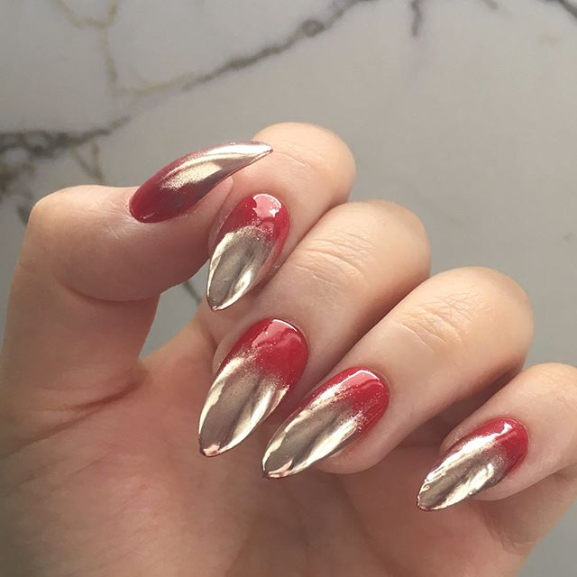 fall gold and red ombre on nails