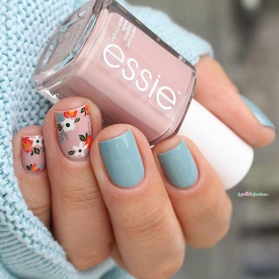pink and blue pastel fall nails with flowers