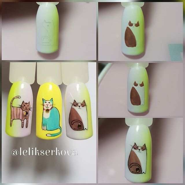 DIY cat nail art