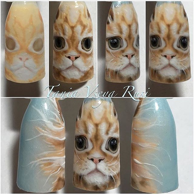 fluffy cat nail design