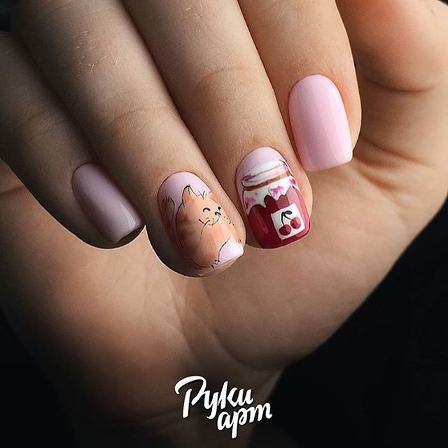 nail design red cat and jam