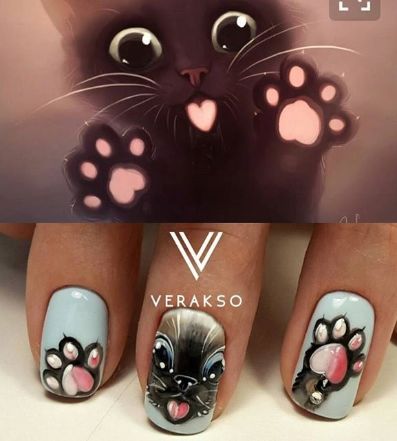 pretty kitty-cat manicure