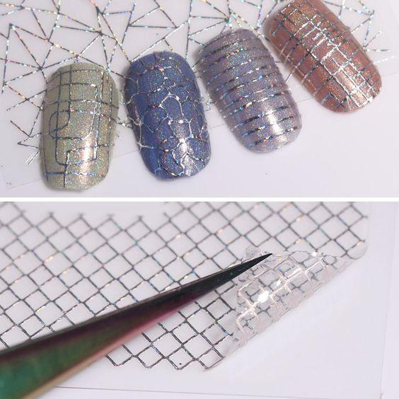 серебряная сетка для маникюра
