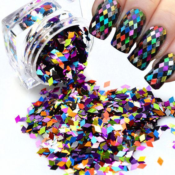 блестящие ромбы для декора ногтей