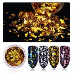 пайетки для ногтей нарезанное золото для маникюра