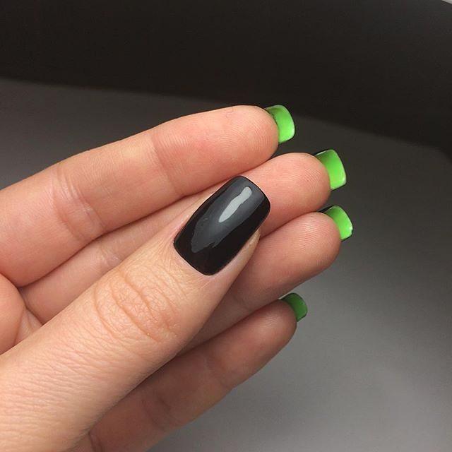 двухсторонний маникюр черный с зеленым