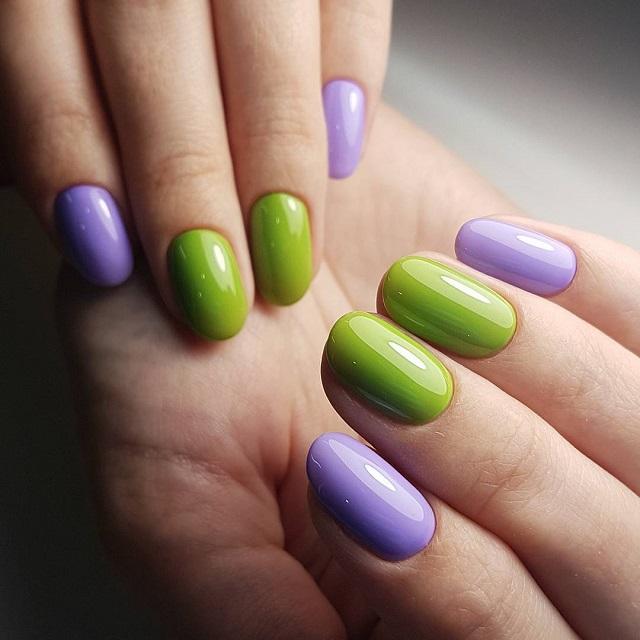 фиолетово зеленый маникюр