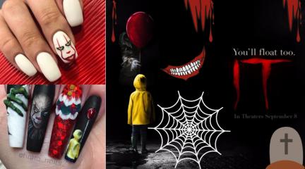 маникюр на хэллоуин с клоуном