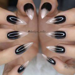 острый черно-белый маникюр