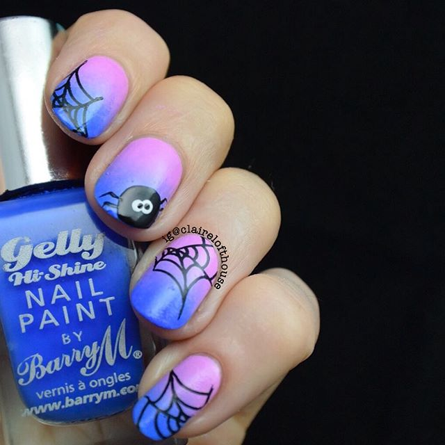 purple pink Halloween spider nails
