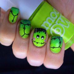 зеленый маникюр франкенштейн на хэллоуин