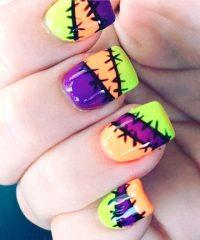 разноцветный маникюр зомби со стебками