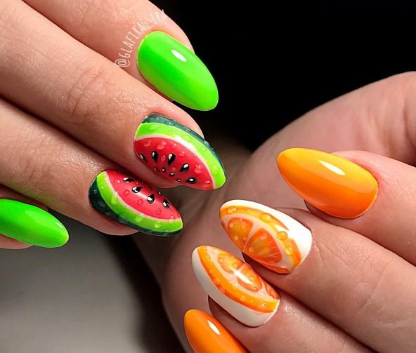 фруктовые ногти с арбузом и апельсином