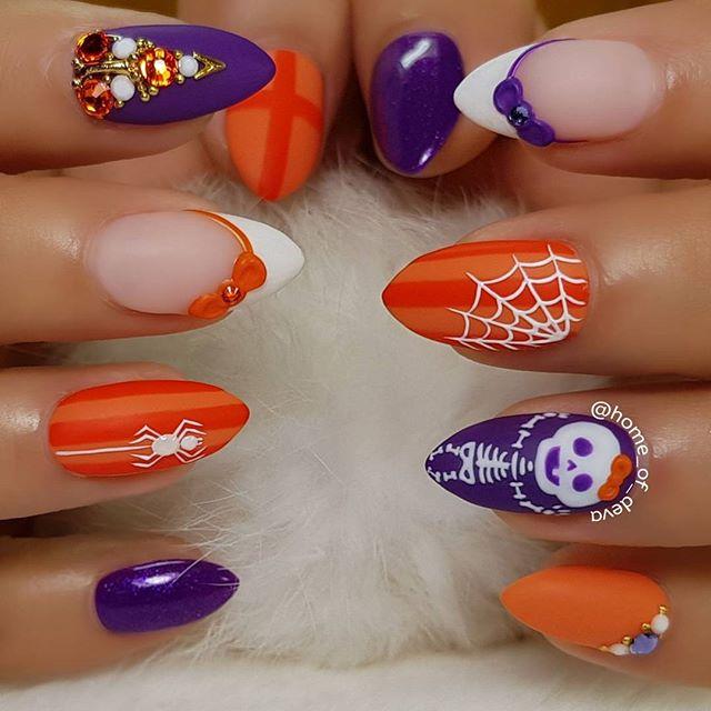 фиолетово-оранжевый маникюр с паутиной