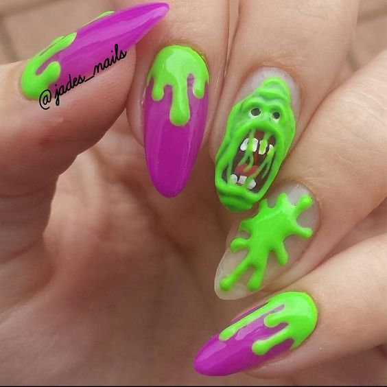Ghostbusters slimer nail design