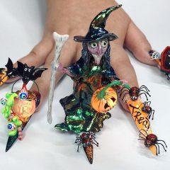 объемная композиция на ногтях на тематику хэллоуина