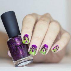 зелено-фиолетовый маникюр ведьмы
