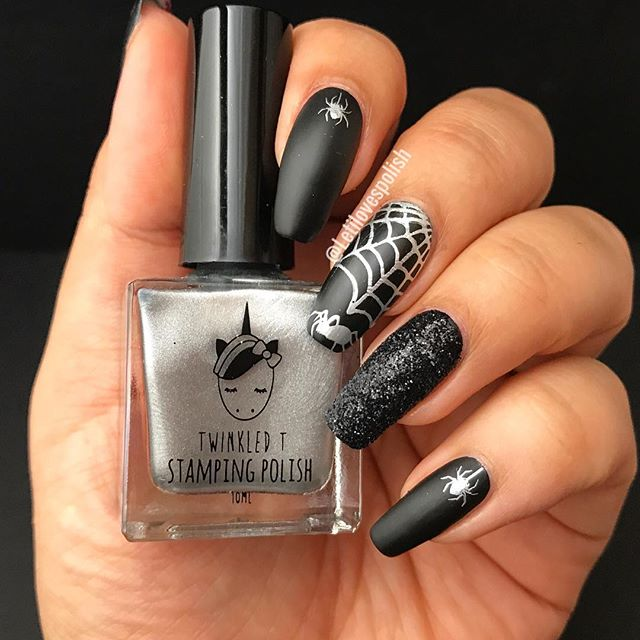black nails with silver spider web for Halloween