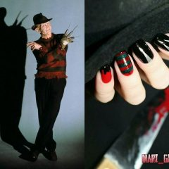 красно-черный маникюр руки ножницы