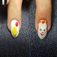 маникюр с клоуном и шариком на хэллоуин