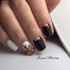 черно-белый осенний маникюр с листьями