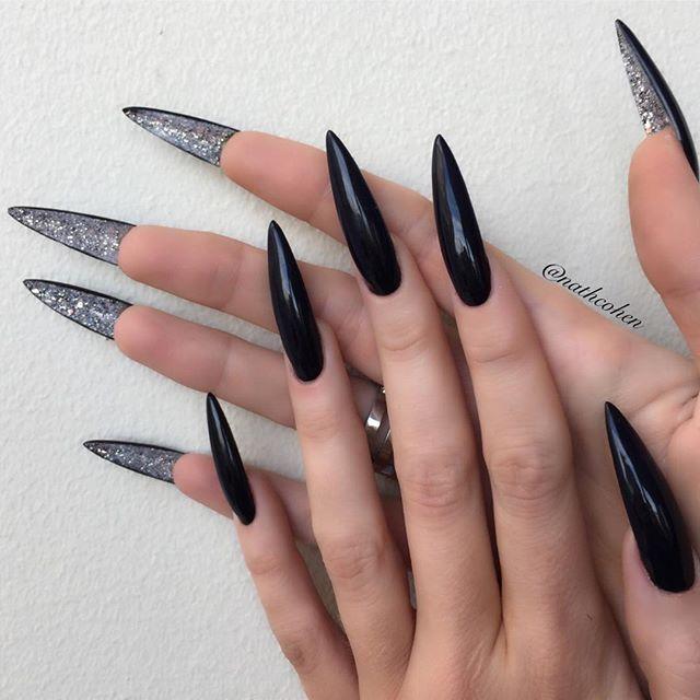 двухсторонний черно серебряный маникюр лабутены