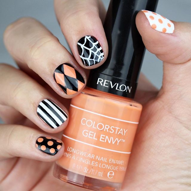 geometric polca dot spider web nails