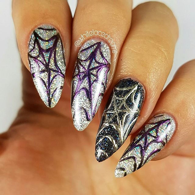light-purple spider web nails