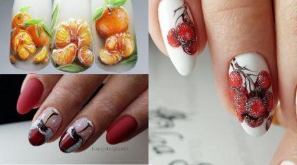 Зимние дизайны ногтей с фруктами: на Новый год, Рождество и другие праздники