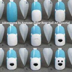 как нарисовать медведя на ногтях