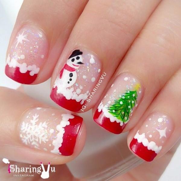 бело-красный новогодний французский маникюр со снеговиком