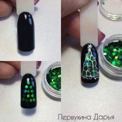 черный маникюр с зеленой елки из камифубуки