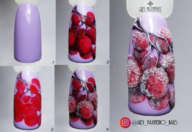 как нарисовать морозные фрукты на ногтях